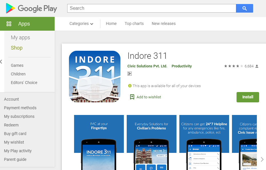 Process to Install/ Download the Indore 311 Application- you can install the application