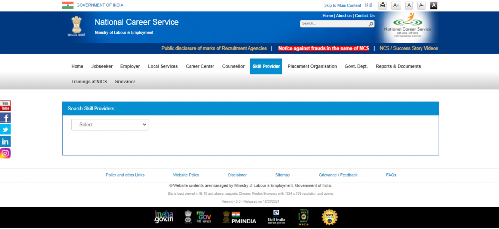 National Career Service Portal: How to Find Skill Provider?
